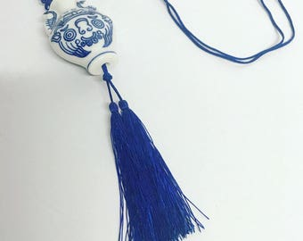 Blue and White fan pull with tassels