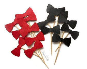 "Red & Black 2"" Double sided Bowtie Cupcake Toppers, Food Picks-or Choose Your Colors"