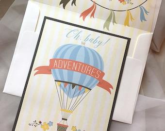 Hot Air Balloon Baby Shower Invitation, Adventure Invitation, Oh baby Invitation, Banner Bunting, Up and Away Baby Shower Invitation