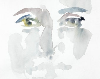 face sketch . original watercolor painting