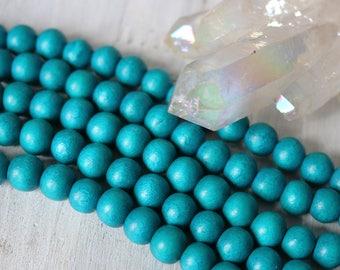 teal beads, wood beads, 6mm beads, round beads, rustic beads, blue beads, blue green beads, natural beads, full strand,