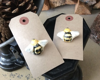 Ceramic bee brooch