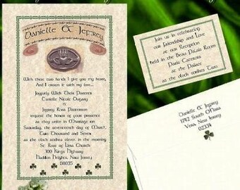 qty 50 Irish Wedding Invitations Claddagh Celtic Shamrock Invites and Reception Cards