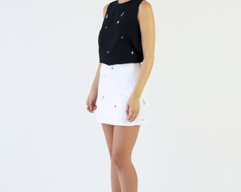 High Waisted Denim Mini Skirt. Womens Minimalist White Stretch Cotton Drill A-line Skirt.