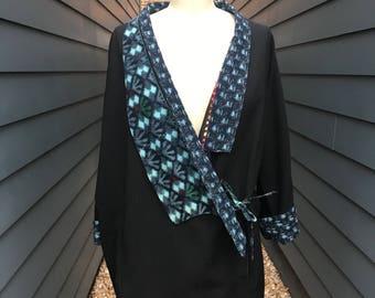 Vintage Japanese-esque Jacket // Japanese-esque kimono jacket // oversized jacket // wrap jacket