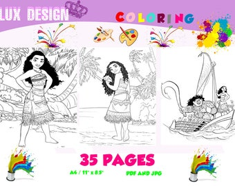 Moana Coloring 35 pages JPG PDF file- Coloring pages,Moana Printable,Digital,moana image