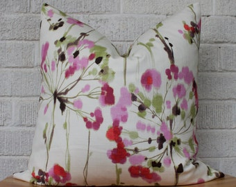 Colourful Floral Pillow Cover, Fuchsia floral pillow, Dandelion, flower pillow