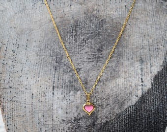 Signed Just For You Dainty Pink Heart Necklace