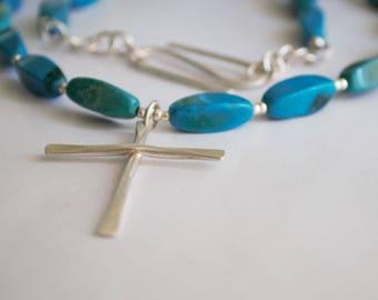Collier avec perles de Turquoise bijoux unisexe Croix plaine simple