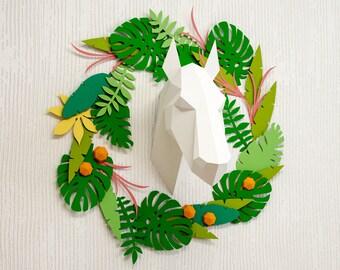 Background Plants for Papercraft 3D sculptures, paper plants home decor, DIY paper project, download printable template, PDF origami kit