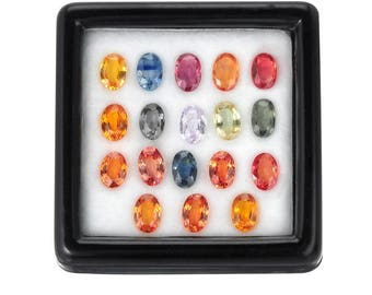 10.0 Carats 6x4mm Natural Sapphire Lot. Multicolor Color And Oval Cut.