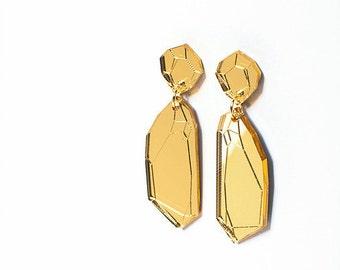 IRREGULAR GEM stone earrings. Gold mirror acrylic.