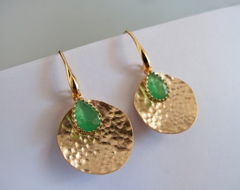 Green Gold Dangle Earrings - Gift for Her - Bridesmaid Gift