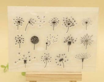 Dandelion Flower Weed Clear Rubber Stamp Set with 14 different dandelion stamps for scrapbook card making, paper craft, collage
