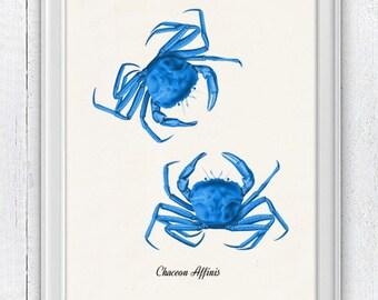 Blue Crabs - sea life print Bathroom Wall decor -vintage natural sea history SAS008