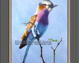 hand oil painting,original painting,birds painting,framed,ready to hang,36'  animals painting Lilac breasted roller bird