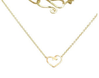 Heart Love Pendant Minimal Necklace, fine chain, gold fill, sterling silver, rose gold fill, Necklace 375