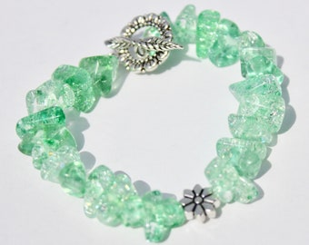 Green Stone Bracelet with Flower Accent Bead