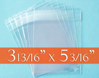 200 3 13/16  x 5 3/16 Inch Self Adhesive Clear Cello Bags for A1 Cards w/ Envelope, Acid Free