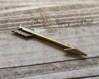 Arrow Pendants Antiqued Bronze Arrow Charms Big Arrow Charms Western Charms Large Arrow Charms Hunting Pendants Archery Charms 5 pieces