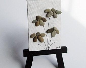 "Pebble Art - Daisies on a 2"" by 3"" Canvas in a 5"" Tall Black Easel - modern art, housewarming gift, desk art, small pebble art, daisy lover"