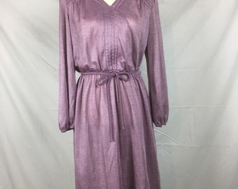 Vintage 1950s Lilac dress, satin dress, silky 50s dress