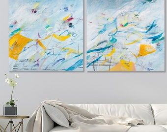 Diptych painting Large ABSTRACT PAINTING original Large wall art 71x36 Light blue Canvas Painting Set Contemporary art by Duealberi