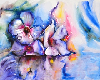Morning Dew Flowers. Still life with flowers watercolor art print. Wall art, wall decor, digital print.