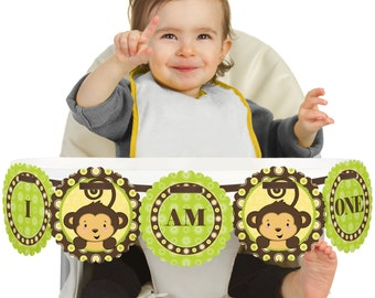 Monkey - 1st Birthday - I Am One - First Birthday High Chair Banner - First Birthday Party Decorations