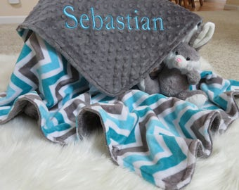 Baby Blanket, Personalized Baby Boy Blanket, Topaz  Charcoal  Shevron  Baby Boy Blanket, Baby Gift, Baby Shower Gift, Minky Baby Blankets
