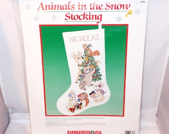 1990 Dimensions ANIMALS In The SNOW STOCKING #8398 Christmas Stamped Cross Stitch Kit Tree Deer Baby Animals Personalize New Sealed Gift