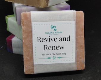 """Handmade """"Revive and Renew"""" Charcoal and  Sea Salt Scrub Soap by Clean & Happy (1 bar of soap)"""