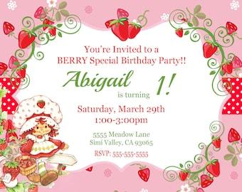 Digital Vintage Strawberry Shortcake Invitation
