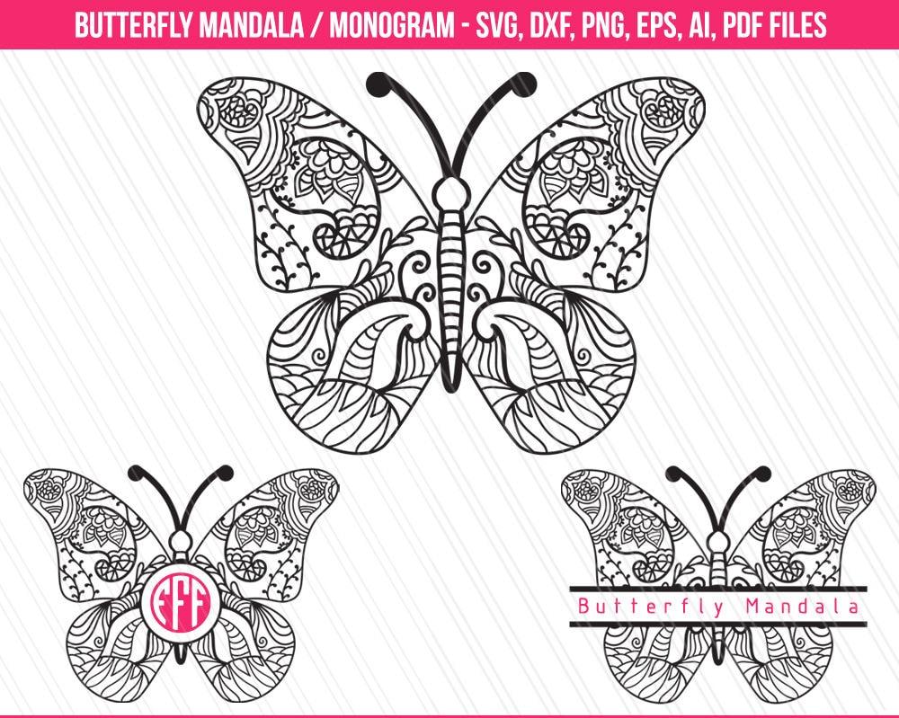 Download Butterfly mandala svg monogram svg Butterfly clipart