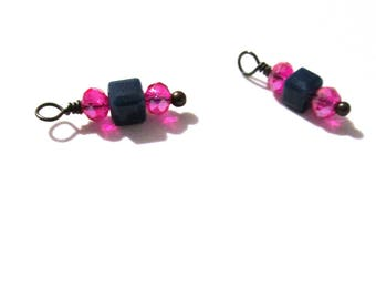10PC. Navy and Fuchsia Sparkle AB Austrian Crystal Bead Charms//Handmade Bead Charms// Bead Dangle Adorned w/Ant. Copper Tone Plated Accent