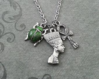 Nefertiti Necklace SMALL Nefertiti Jewelry Egyptian Necklace Egyptian Jewelry Scarab Necklace Ankh Necklace Green Scarab Beetle Jewelry