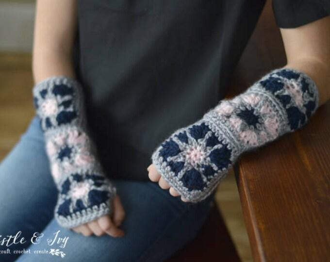 CROCHET PATTERN: Starburst Granny Square Arm Warmers Crochet Pattern pdf DOWNLOAD