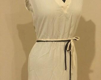 Vintage 1970's Classy White Disco Godess Dress Rockabilly Pin Up