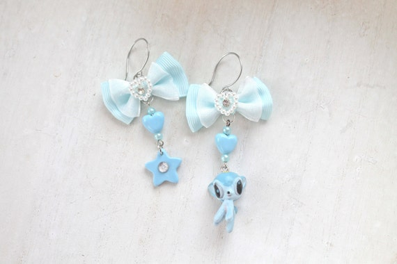 Deer kawaii mismatched dangle earrings blue Fairy kei