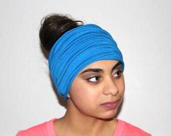 Blue Headband, Extra Wide Jersey Headband, Yoga Headband, Running Headband, Workout Headband, Fitness Headband, Turban Headband