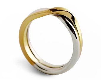 LOVE KNOT Two Tone wedding band, unique wedding ring, alternative wedding ring, White and Yellow Gold Ring