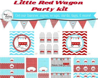 Little Red Wagon Birthday, Red Wagon Birthday Decorations, Red Wagon Baby Shower Decorations, Red Wagon Party Decorations, BeeAndDaisy