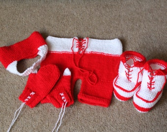 KNITTING PATTERN Baby Rocky Boxer Photo Prop Set Hat Bow Tie Shorts Bootees Set Knitted Newborn to 3 Months Boy Girl Unisex Baby Clothes