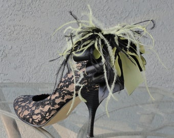 Bridal Party Wedding Yellow And Black  Bow And Feather Shoe Clips Set Of Two
