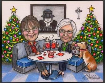 Custom Caricature, Christmas card, Xmas card, portrait cartoon, cartoon portrait                   ur DOG ate my ICE CREAM!