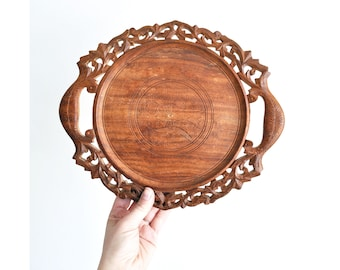Vintage Hand Carved Wood Tray // Bird