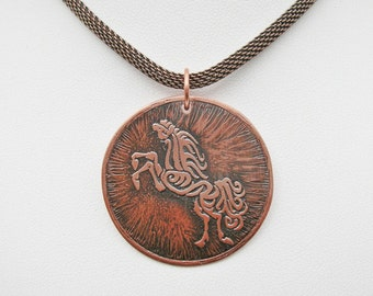 Rearing Horse Necklace Horse Jewelry Etched Copper Pendant Equestrian Jewelry Copper Jewelry