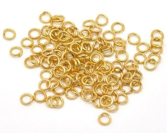 set of 100 5 mm gold jump rings