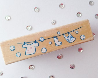 Stamp (Stamp), Clothesline (Laundry), wood (Wood), Rubber, 7 cm long (length), 2 cm wide (wide)