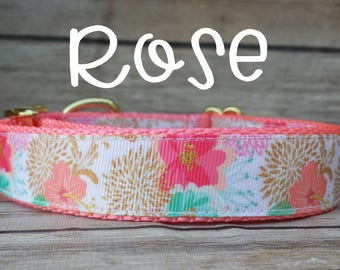 Rose Gold Dog Collar / Floral Dog Collar / Rose Dog Collar / Girl Dog Collar / Gold Dog Collar / Brass Collar / Girl Dog Collar / Large Dog